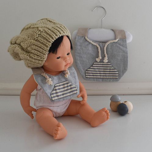 Blue Stripe Hoodsie Me & My Dolly Matching Set