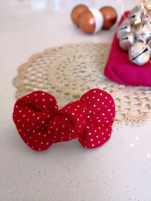 Red & Gold Spotty Bow