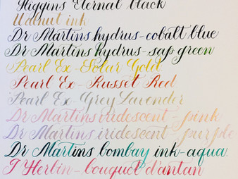 Reviewing calligraphy inks.