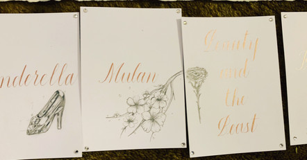 Wedding table name cards.