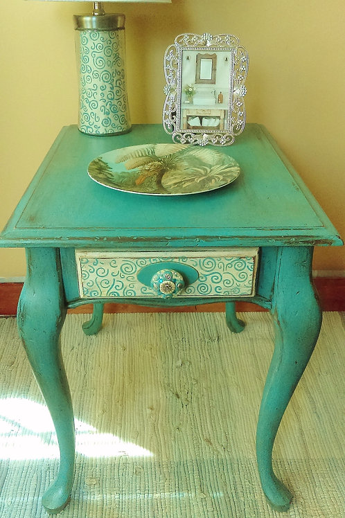 Eclectic Blue End Table