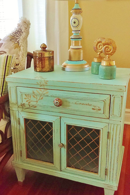 Aqua Blue French Cabinet