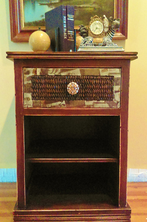 Vintage Traditional Nightstand with Wicker Accents