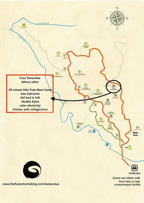 Location map of Tamandua - Finca Bellavista