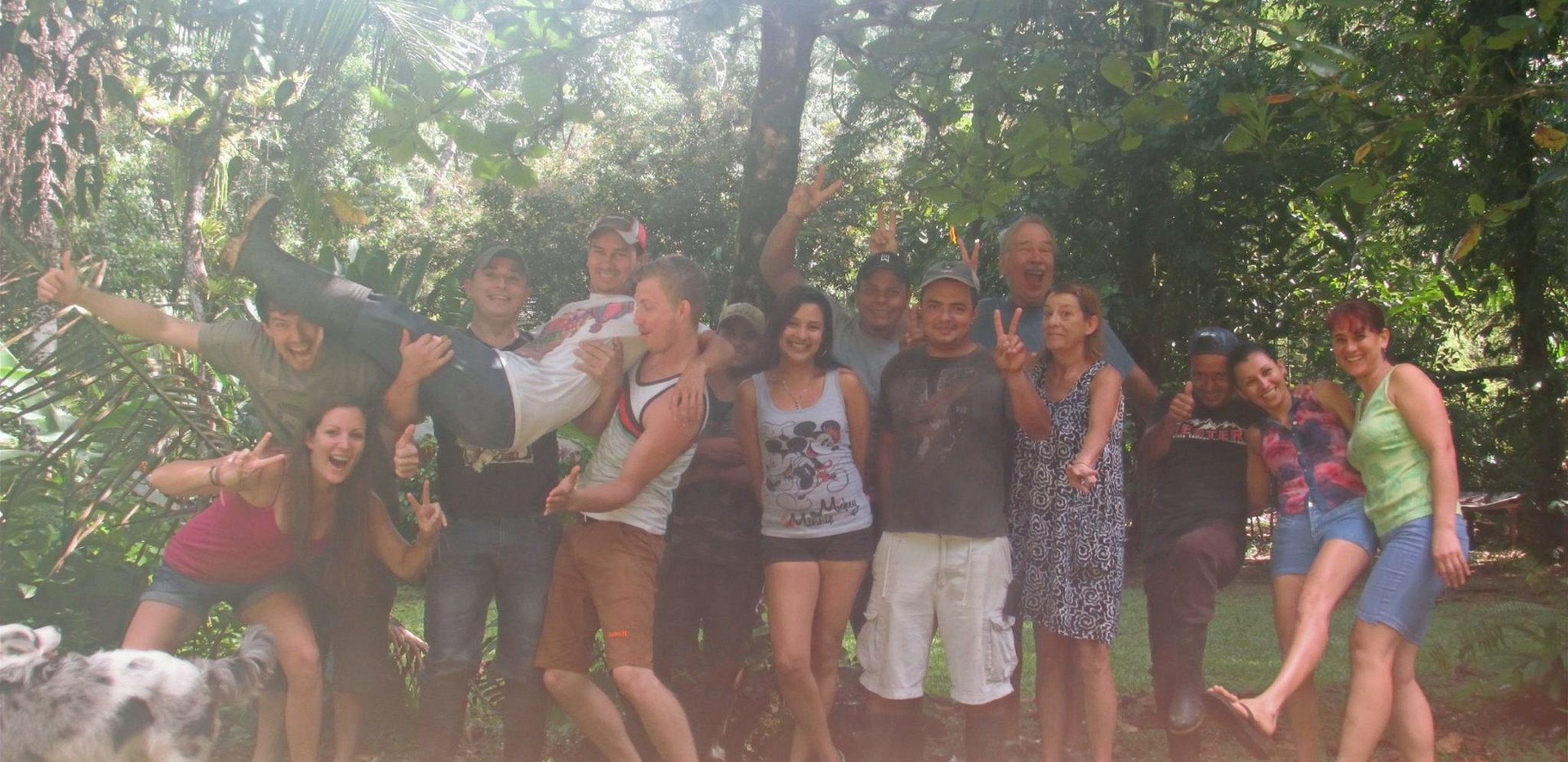 Amy and I hanging out with the FBV crew when we used to be managers