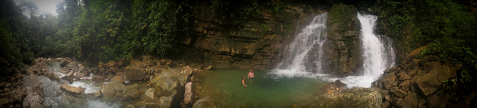 Waterfall at Finca Bellavista with Amy and Rob
