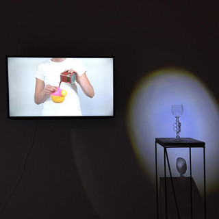 """""""Vessel"""" video installation detail at the exhibition """"RED"""" at ARS Art Factory, Tallinn"""