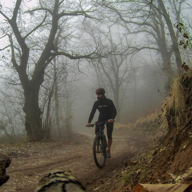 lo sterrato che porta a Cerreta S.Nicola, con la nebbia