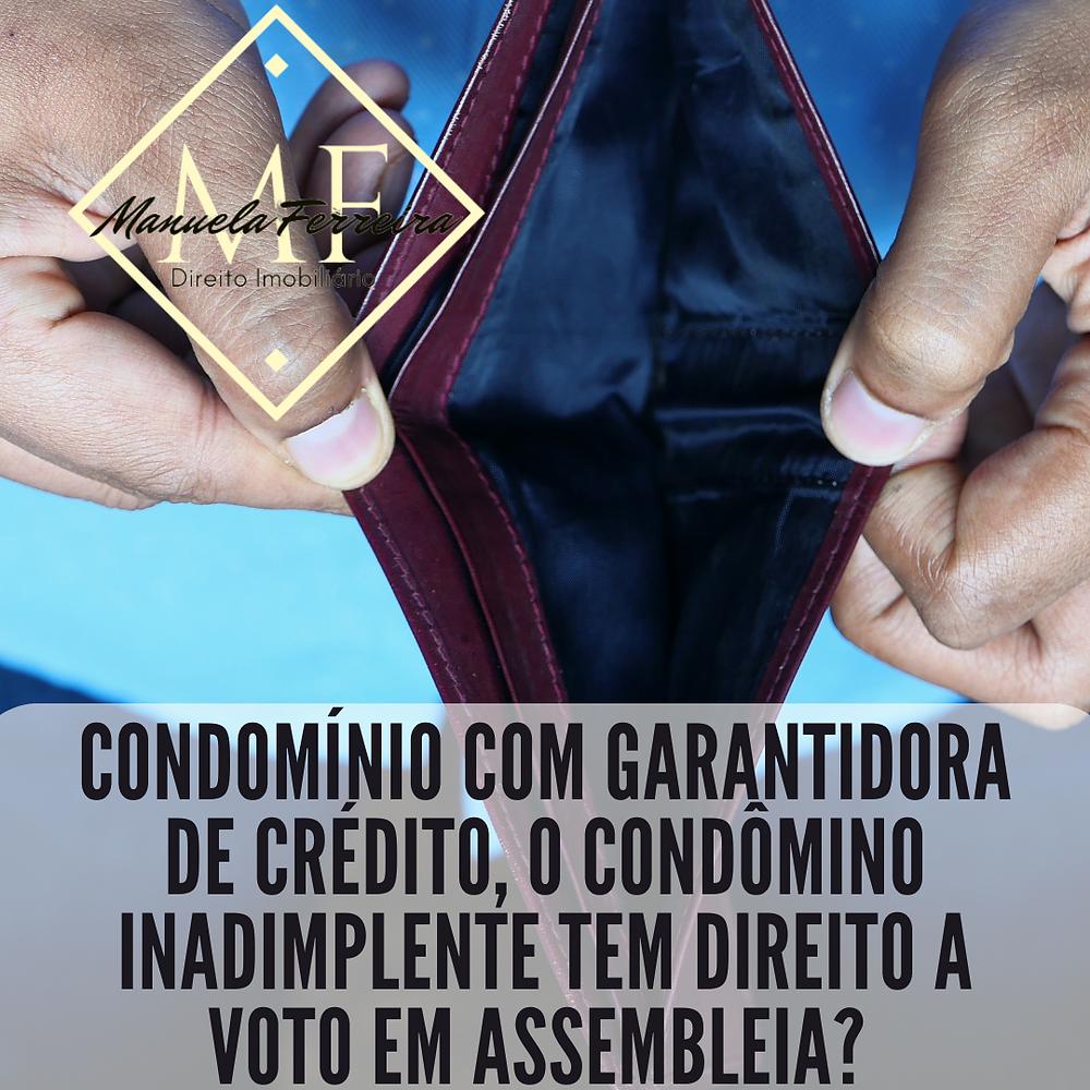 uma carteira aberta sem dinheiro com título Condomínio com garantidora de crédito, o condômino inadimplente tem direito a voto?