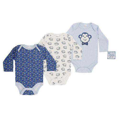 Baby Long Sleeve Vests 3 Pack Monkey