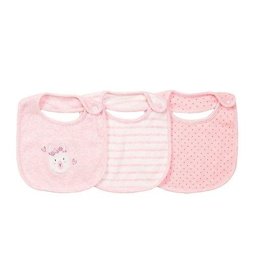 Pink Bunny Bibs 3 Pack
