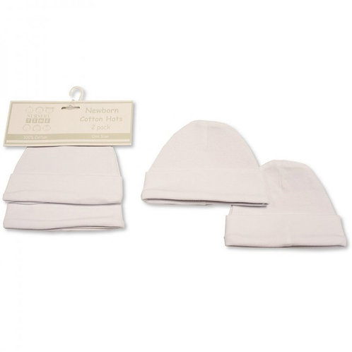 Baby Cotton Hats White 2pk