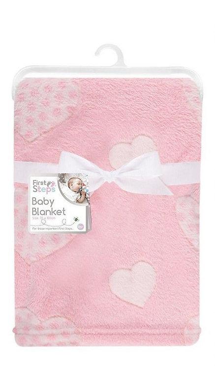 Super Soft Pink Heart Baby Blanket