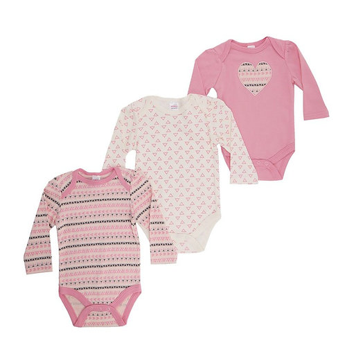 Baby Long Sleeve Vests 3 Pack Heart