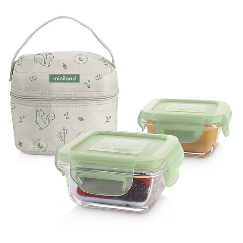Miniland Pack-to-Go natureSquare Glass Containers