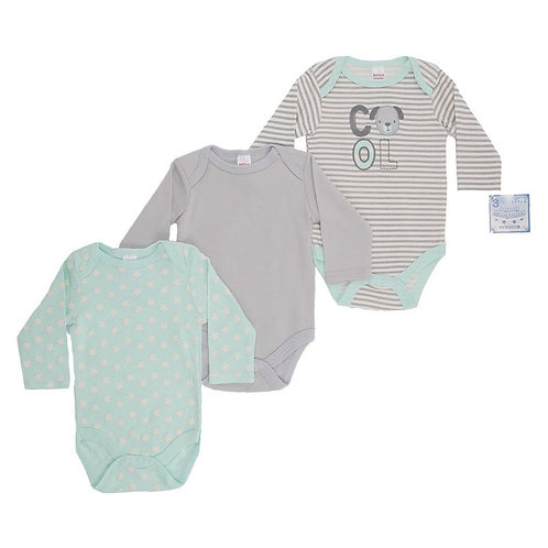 Baby Long Sleeve Vests 3 Pack Cool