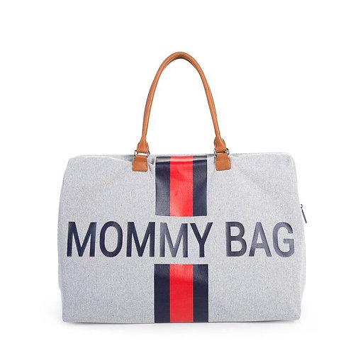 Childhome Mommy Bag Grey Stripes Red/Blue