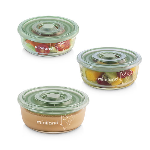 Miniland Set 3 NaturRound Chip Glass Containers