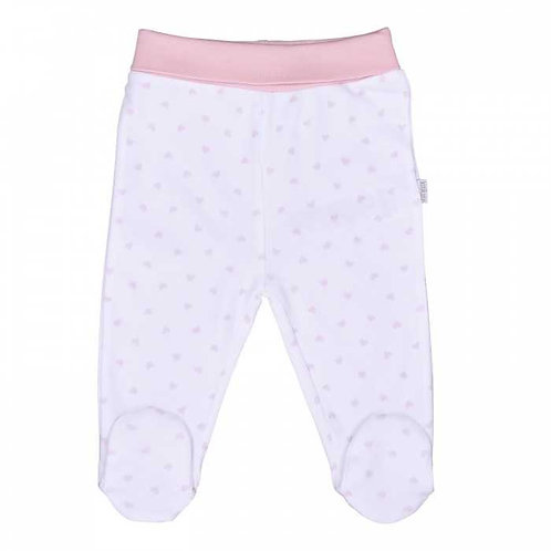 Organic Baby Footed Pants Pink Hearts