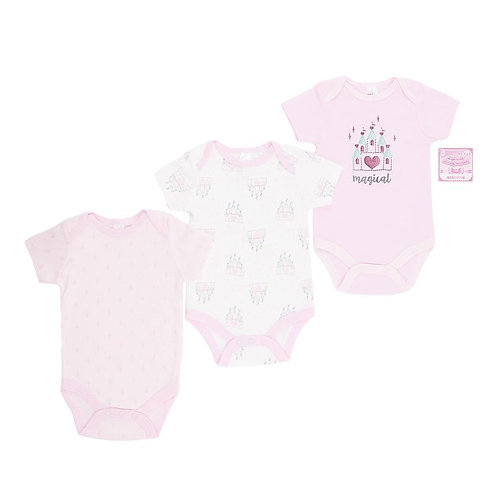 Baby Short Sleeve Vests 3 Pack Magical