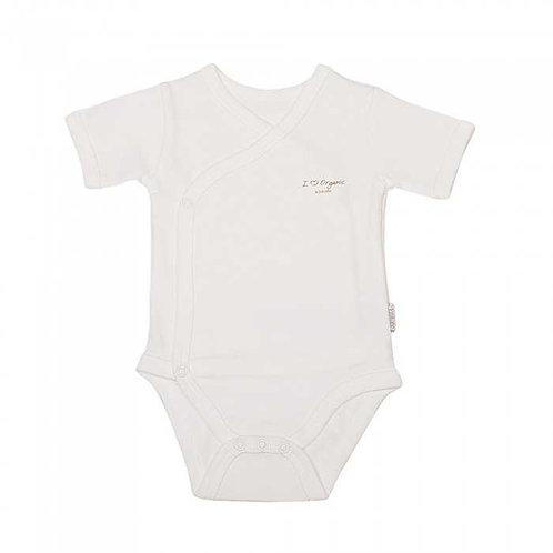 Organic Wrap Over Vest Ivory Short Sleeve