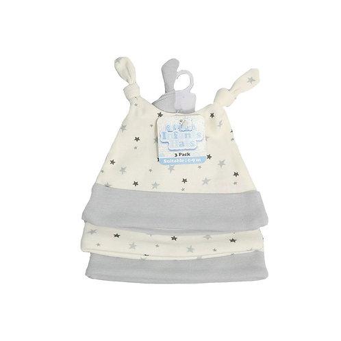 Baby Hats 3 pk Grey Star
