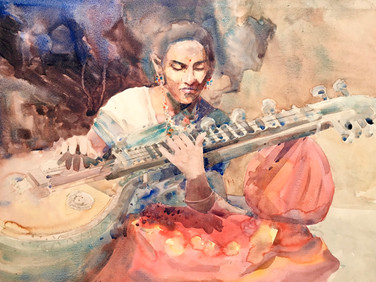 SITAR PLAYER, 1987, Watercolour