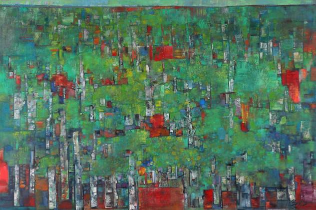 Eternal Foliage 森林好风光. 122 x 183 cm. oil on canvas. 2017