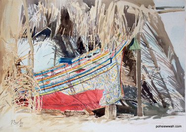 FISHING BOAT, 1987, Watercolour
