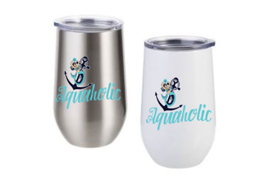 Be Mer-mazing Aquaholic Stainless Steel Stemless Wine Cup - 12oz.