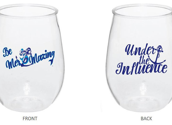 Be Mer-mazing Under the Influence Clear Plastic Wine Cup