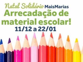MaisMarias recebe doações de material escolar até dia 22/01