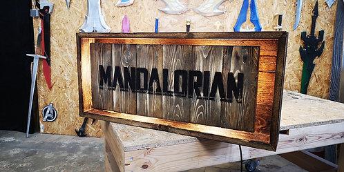 Mandalorian Wood Lamp Sign Made in Old Vintage Rustic Naturel Walnut