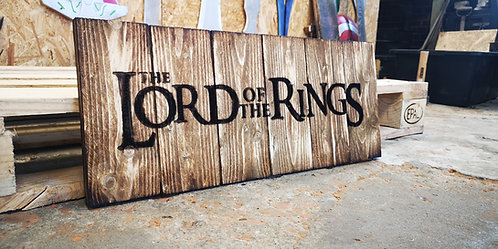 Lord Of The Rings Wood Sign Made in Old Vintage Rustic Naturel Walnut