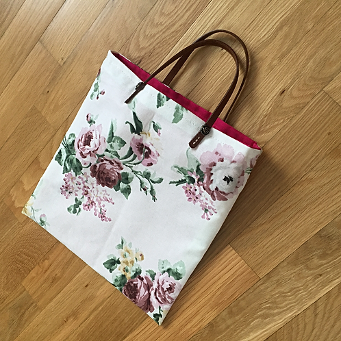 Fabric Tote Bag with Leather Handles