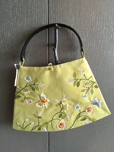 Embroidered Silk Flat Bag with Buffalo Horn Handle