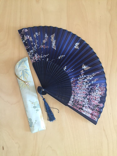 Bamboo Handheld Fan with Fabric Cover