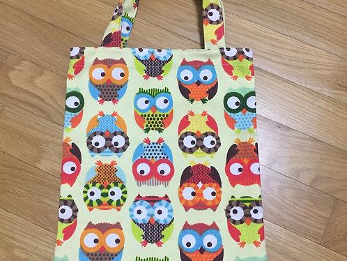 Small Owl Print Fabric Tote Bag