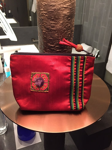 Embroidered Silk Cosmetics Pouch
