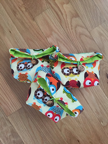 Owl Motif Cotton Fabric Fold Over Pouch