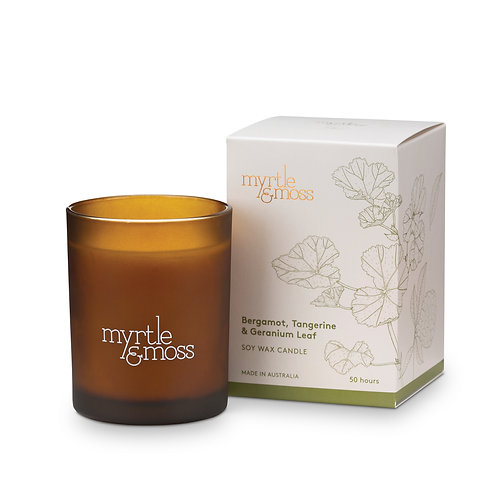 Myrtle & Moss Soy Wax Candle Bergamot, Tangerine and Geranium