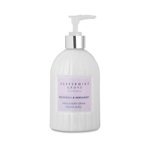 Peppermint Grove Patchouli & Bergamot Hand & Body Cream 500ml