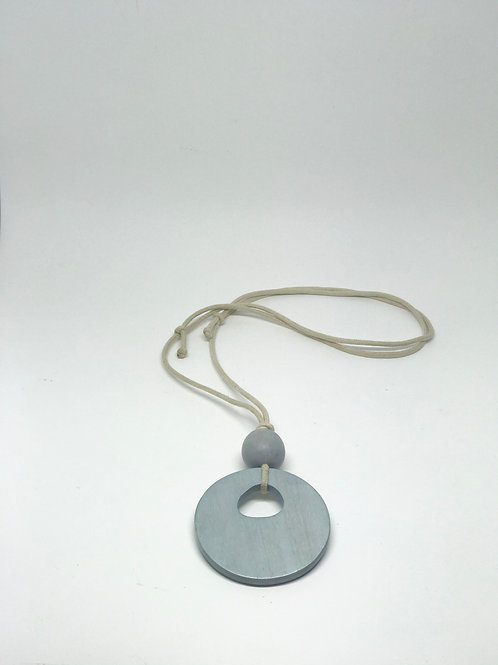Long Disc Necklace Dove Grey