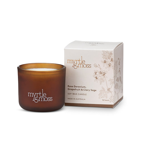 Myrtle & Moss Soy Wax Candle Rose Geranium, Grapefruit & Clary Sage