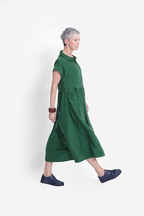Elk Neon Garden Dress Pesto Green