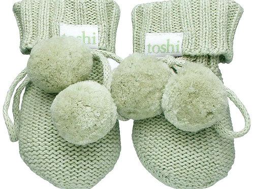 Toshi Organic Cotton Booties Sage Green