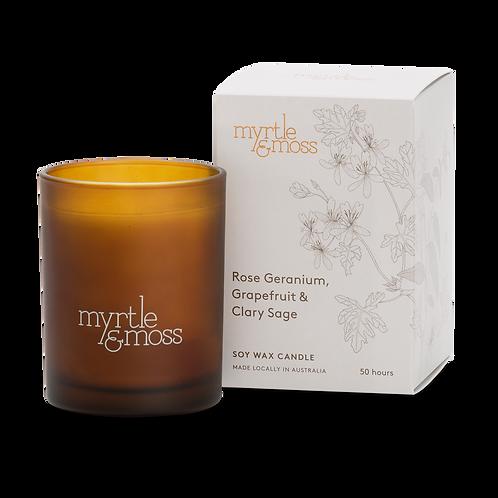 Myrtle & Moss Soy Wax Candle Rose Geranium, Grapefruit & Clary Sage