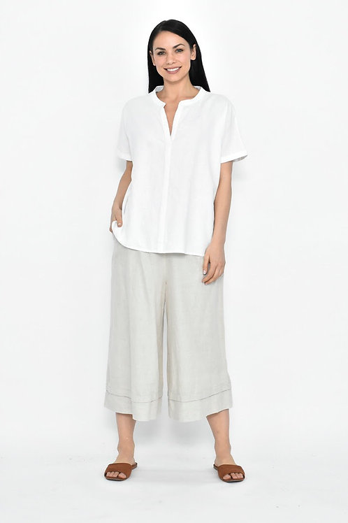 White Linen V-Neck Top