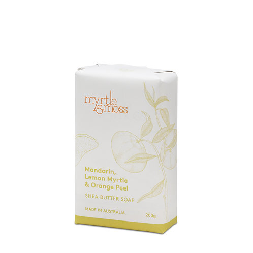 Myrtle & Moss Shea Butter Soap Mandarin, Lemon Myrtle & Orange