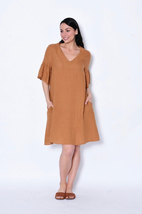Ochre Linen Dress